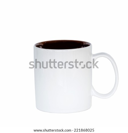 close up mug coffee on isolated white, clipping path