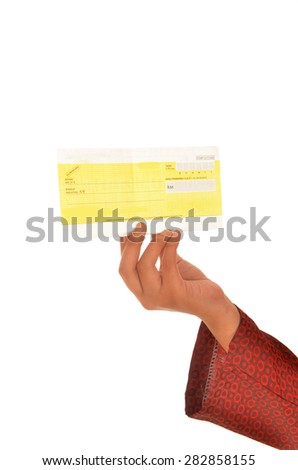 close up Muslim businesswoman holding cheque   - stock photo