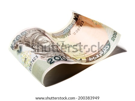 Close up 200 naira banknote on white background - stock photo