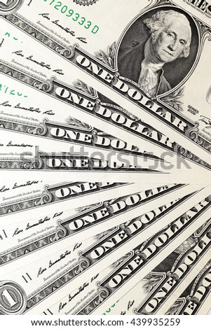 Close-up New American dollars put together - stock photo