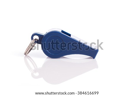 Close up new blue whistle isolated on white background - stock photo