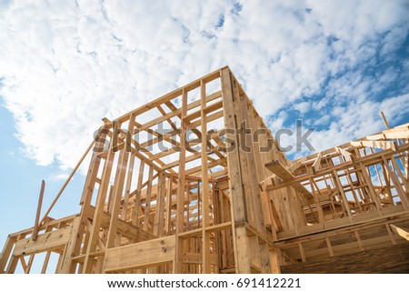 Closeup New Stick Built Home Under Stock Photo (Royalty Free ...