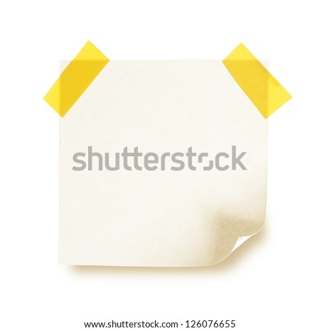close up note paper on white background - stock photo
