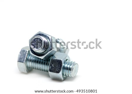 Close up Nuts and Bolts  isolated on white background / Selective focus