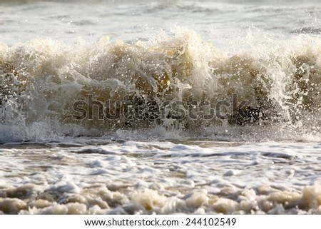 Close up Ocean wave water. - stock photo