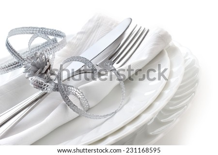 close up od place setting on white background - stock photo