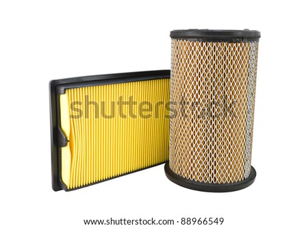 Close-up of a air filter isolated on white background