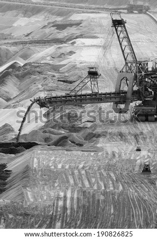 Close-up of a backloader in a lignite (browncoal) mine
