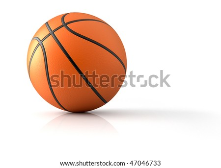 Close up of a basketball - 3d render illustration - stock photo