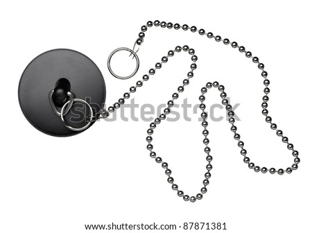 close up of  a bathroom plug with chain on white background with clipping path - stock photo