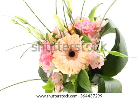 Close-up of a beautiful bouquet of flowers. Isolated on white background - stock photo