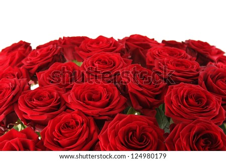 Close-up of a beautiful bouquet of red roses. - stock photo
