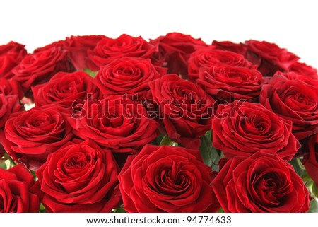 Close-up of a beautiful bouquet of red roses. Isolated on white background - stock photo