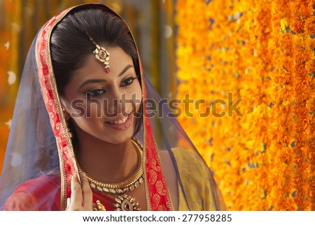 Close-up of a beautiful bride smiling - stock photo