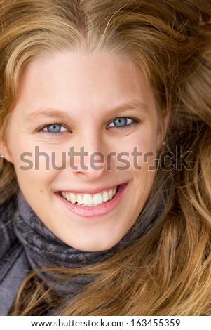Close up of a beautiful, natural woman - stock photo