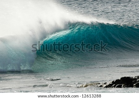 close-up of a beautiful ocean wave - stock photo