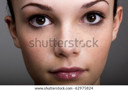 Close-up of a beautiful teenage girl - stock photo