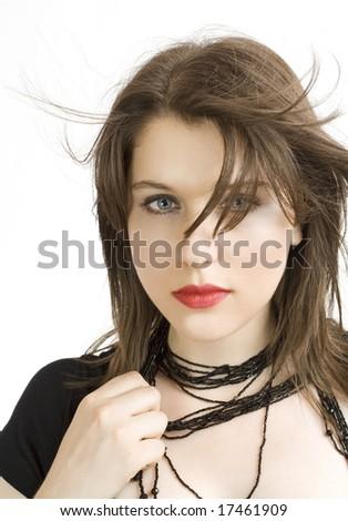 close up of a beautiful woman - stock photo