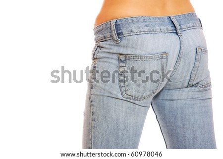 Close up of a beautiful woman wearing jeans isolated on a white background - stock photo