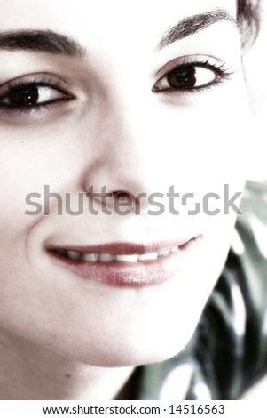 Close-up of a beautiful young woman face.