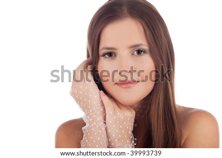Close-up of a beautiful young woman on white background