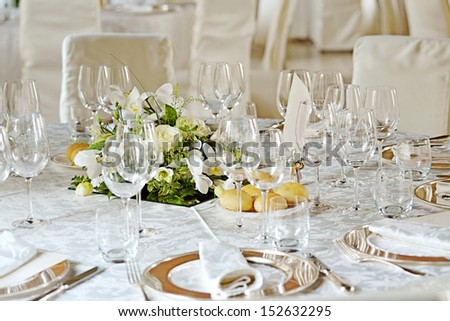 Close-up of a beautifully decorated wedding table for food. - stock photo