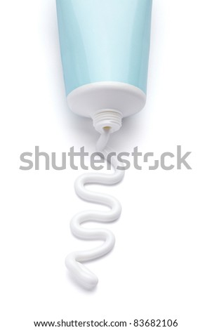 close up of  a beauty cream tube on white background with clipping path - stock photo