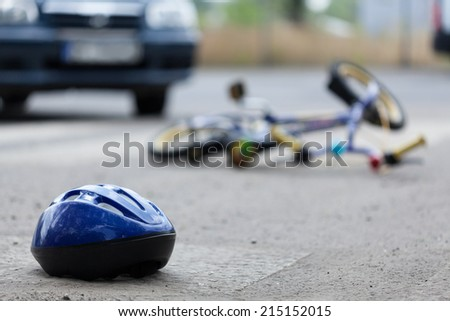 Close-up of a bicycle accident on the city street - stock photo