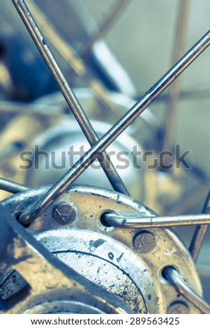 Close-up of a bicycle wheel hub and spokes - stock photo