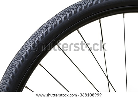 Close up of a bicycle wheel on a white background - stock photo