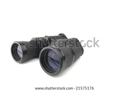 close up of a binoculars tool isolated over a white background
