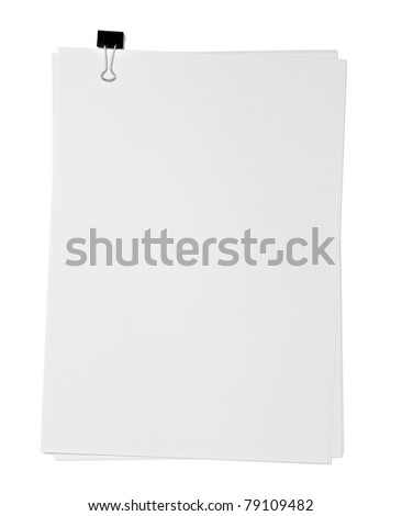 close up of a blank paper and clip on white background with clipping path - stock photo