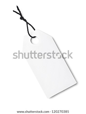 close up of a blank price label on white background - stock photo