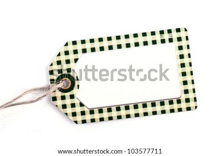 close-up of a blank price tag against pure white background - stock photo
