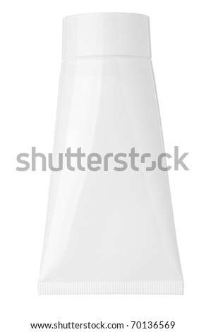 close up of a blank white cream tube on white background with clipping path - stock photo