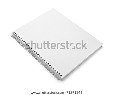 close up of a blank white notebook on white background with clipping path
