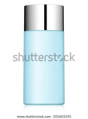 close up of a blue bottle on white background - stock photo
