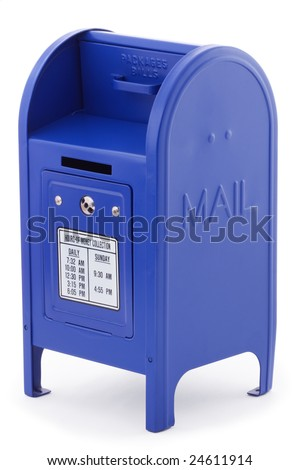 Close-up of a blue metallic Mailbox, isolated on white background. - stock photo