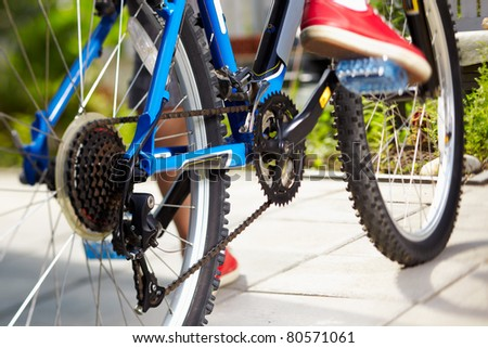 close-up of a blue mountain bike