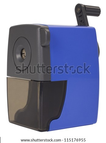Close-up of a blue pencil sharpener - stock photo