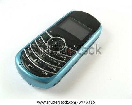 close-up of a blue phone on a white background