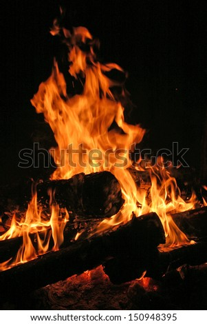 close-up of a bonfire in the night - stock photo
