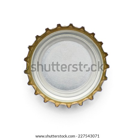 close up of  a bottle cap on white background