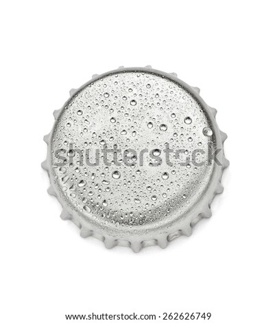 close up of  a bottle cap on white background, soft focus - stock photo