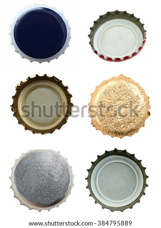 close up of a bottle caps on white background with clipping path