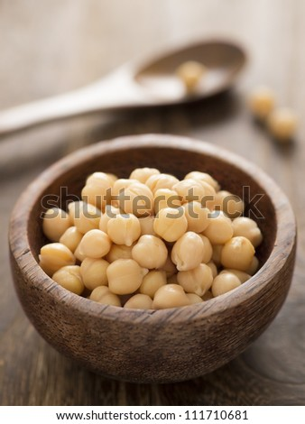 close up of a bowl of chickpeas - stock photo
