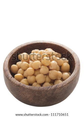 close up of a bowl of chickpeas isolated - stock photo
