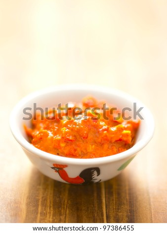 close up of a bowl of fermented shrimp paste