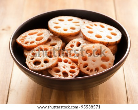 close up of a bowl of lotus root - stock photo