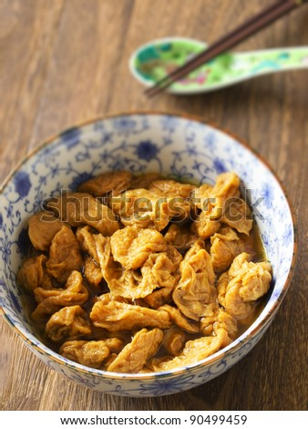 close up of a bowl of vegetarian mock meat - stock photo